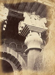Capital of right hand pillar of Buddhist Chaitya Hall, Bedsa Caves, Pune District